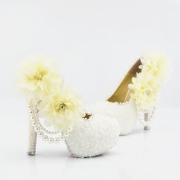Wholesale Prom Shoes Size 11 - Plus Size Lace Pearls Dating Pumps Sexy Prom Evening Shoes Cinderella Shoes Hand-made Bridal Bridesmaid Shoes Nigh Club Party High Heels 217