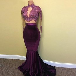Wholesale See Through Prom Dress - Real Picture Two Pieces Prom Dresses 2017 Sheer See Through High Neck Long Sleeve Velvet Long Lace Burgundy African Prom Dress