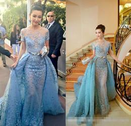 Wholesale Dress Detachable Skirt Sleeves - Light Sky Blue Zuhair Murad Evening Dresses Sheer Neck Short Sleeves Appliques Lace Tulle Over Skirt Celebrity Dresses Formal Prom Dresses