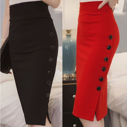 Wholesale Sexy Plus Size Pencil Dresses - Plus Size New Fashion 2016 Women Skirt Midi Skirt Slim OL Sexy Open Slit Button Slim Pencil Skirt Elegant Ladies Skirts 2 Colors