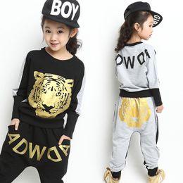 Wholesale Hip Hop Suits Girls - Tiger Printed Boys Girls Clothing Set 2017 New Fashion Brand Sport Suit Sweatshirt & Harem Pants Kids Hip Hop Clothing 3 Colors