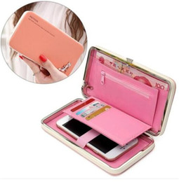 Wholesale Pink Plastic Purse - Cute Women hand bag colorful Wallet Long Purse Phone Card Holder Clutch Large Capacity cellphone holder case with card slot for credit card