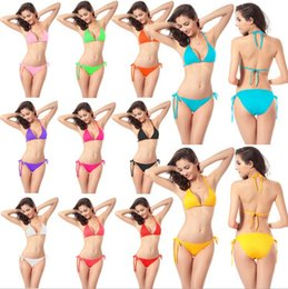 Wholesale Bra Swimwear - Women's Swimming Suit Bikini Summer Sexy Swimwear Triangle sexy Bikini Summer Beach Bikini Swimsuit Underwear Bra 11 color KKA1352
