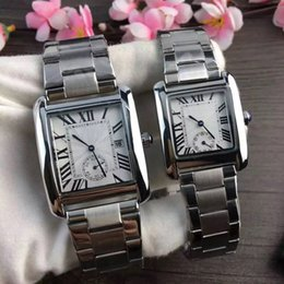 Wholesale Women Working Dresses - 2017 Luxury Couple Watches Dress Women Men Watch Top Brand Quartz Daul Time Dial Work Roman Numerals Stainless band Wristwatches Best Gift