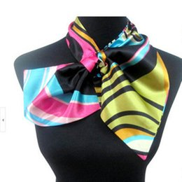 Wholesale Silk Scarves For Autumn - 2017 New Brand Fashion Women Variety Printed Silk Scarf Spring And Autumn Irregular Silk Scarves Satin Neckerchief for Lady Accessories