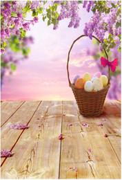 Wholesale Wood Floor Photography Backdrops - Happy Easter Photography Backdrops Wood Floor Colorful Eggs Basket Purple Flower Blossoms Kids Children Photo Backgrounds for Studio