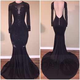 Wholesale Stretch Long Sleeve - Vestidos Black Illusion Prom Dresses 2017 Sexy Backless Mermaid Long Sleeves Stretch Long Evening Party Gowns with Appliques Beaded