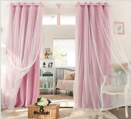 Wholesale Window Double Curtains - New Arrival Korean type pure color double layer window blackout curtain for living room hotel bedroom 5 colors 1pcs price include processing