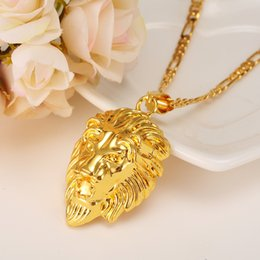 Wholesale Western Necklaces - 24k Yellow Fine Solid Gold GP Coin Lion Head Pendant figaro Chain Necklace Rock Punk Style Men Women Medallion Queen Western