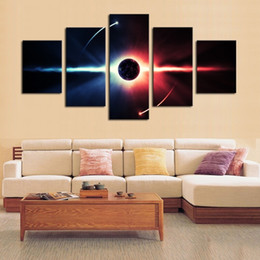 Wholesale Painting Poles - 5pcs set Unframed Fantasy Universe Two Poles Wall Art Oil Painting On Canvas Fashion Textured Paintings Picture Living Room Decor