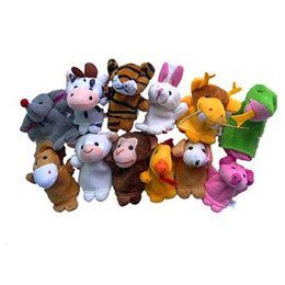 Wholesale Hand Puppet Dog Toy - Wholesale- 12pcs Finger Hand Puppets Plush Toys For Kids Animal Dog Pig Finger Gloves puppets baby reborn dolls Education Toy Gift WOct1