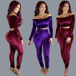 Wholesale Dress Korea Long Skirt - High Quality Ladies Tracksuits Women Fashion 2 Piece Sets Slash Neck Pleuche Korea Down Bandage Skirt Sexy Dress Skinny Tops And Long Pants