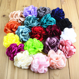 Wholesale Hair Style Korea - free shipping 30pcs lot new South Korea style satin roast flower garment accessories DIY hair accessories roasted side Rose flowers H0127