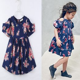 Wholesale Lace Vintage Children - Everweekend Girls Vintage Floral Dress Puff Sleeve Ruffles Classic Summer Cotton Dress Ins Hot Sell Cute Children Dresses