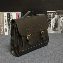 Wholesale Vintage Leather Briefcase Laptop - Wholesale- Vintage Men Business Real Genuine Leather Briefcase Travel Causal Shoulder Messenger Portfolio Laptop Bags Lawer Handbag Bolsa