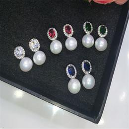 Wholesale White Pearl Oval Rhinestone - 925 Sterling Silver Oval Pearl Drop Earrings New Round Gemstone Zircon Wedding Earrings For Women GL