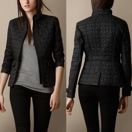 Wholesale England Women Coat - Women British Fashion England Short Style Thin Cotton Padded Coat Brand Clothing Designer Zipper Pocket Jacket for Female