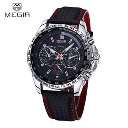 Wholesale Mens Top Brand Luxury - Wholesale- MEGIR Sports Brand Quartz Mens Watches Top Brand Luxury Quartz-watch Clock Leather Strap Male Wristwatch Relogio Masculino 2016