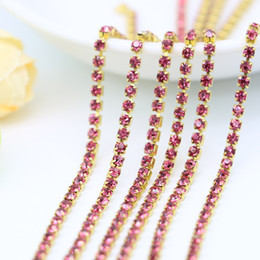 Wholesale Sparkle Trim - Gold Base Sparkling Rhinestone Brass Cup Chain Trim Crystal Rose color for Garment and Jewelry Accessories , SS6.5-SS12, 3.5-5Meters pack