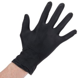 Wholesale Household Appliances - 100pcs Lot Wholesale Nitrile Disposable Gloves non-dust Non Latex Gloves TAttoo Thicker Black S M L ZN0945BL