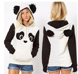 Wholesale Hoodies Ears For Women - Big Fluffy Pom Pom Ears Women Cute Panda Thin or Thick Warm Hoodie Pullover Hooded Coat Jacket Sweatshirt White Black for Spring Summer Xmas