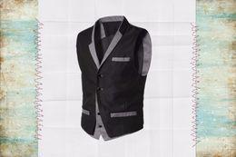 Wholesale Mens Black Dinner Suit - Wholesale- 2017 New Design Black And Gray Mens Waistcoats Slim Fit Wedding Prom Dinner Suit Vests Casual Man Vest chaleco de vestir hombre