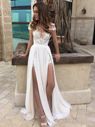 Wholesale New Split Bodice - 2017 New Arrival Sheer Crew Neck Lace Wedding Dresses Cheap Simple Chiffon Side Slit Short Sleeves Wedding Bridal Gowns