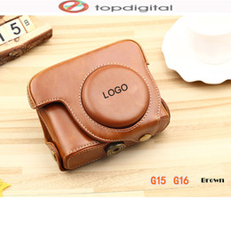 Wholesale Dslr Camera Body - Wholesale- NEW for Canon G10 G11 G12 Case Leather Camera Bag Case Cover for Canon Powershot G15 G16 DSLR Case Shoulder Strap Black Brown