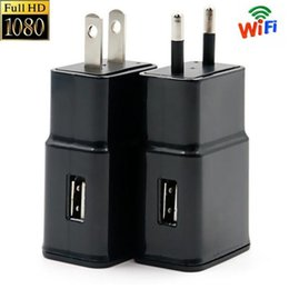 Wholesale 5v Power Adapter Camera - FULL HD 1080P Wifi USB Camera Mini Hidden Spy Scoutout DVR Wall Adapter Charger+32GB 16GB 8GB Memory Eu US 5v 2A Wall charger power adapter