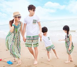 Wholesale Mother Son Sets - Family summer Bohemia outfits mother and daugter beach dress dad and son 2pc set T shirt+pants family matching look beach outfits
