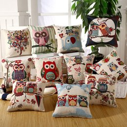 Wholesale Embroidery Linen Cushion Cover - Owl Embroidery Square Pillow Case Covers Sofa Owls Cushion Colorful Pillow Bolster Decor Pillows Case Decorative Cushions 2017 Decoration