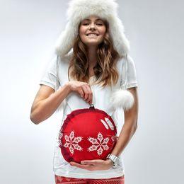 Wholesale Snow White Shirts - Wholesale- 2016 New Fashion Christmas Snow Globe Pregnant Woman T Shirt-white Christmas T-shirt Print 3D Snow Christmas Tee Shirts 1567