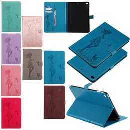 """Wholesale Embossed Fold Card - Girl & Cat Print Embossed Folio Stand Leather Case Flip Smart Cover w  Wallet Cards Holder for iPad Pro 9.7"""" & Samsung Tab"""