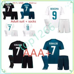 Wholesale Grey Men S Suit - Real Madrid Home white Soccer Jersey suit 17 18 Real Madrid away black soccer shirt kit 2018 Ronaldo Football uniforms Asensio jersey+shorts