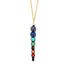 Wholesale Necklaces Beads Designs - New Design Healing Balancing Jewelry Fashion Long Natural Stone Choker Necklace 7 Chakra Beads Pendant Chain Necklace Women Yoga Reiki