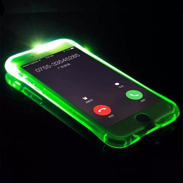 Wholesale Housing For Iphone Green - LED Flash Light Case For iPhone5S 6 6s Plus 7 7plus Smart Transparent Soft Silicon Cover Skin Gel For iPhone 6 s 6Plus Shell Bag Housing