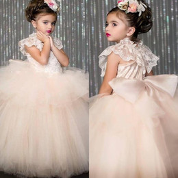 Wholesale Free Kids Pageant Dresses - Champag Flower Girl Dress Tulle For Wedding Kids Prom Dresses For Girls Birthday Party Dresses Pageant Dresses Free Shipping