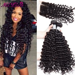 Wholesale Human Hair Tissage Curly - 5PCS lot Malaysian Curly Hair with Closure tissage Malaysian Virgin Hair Curly 4 Bundles with Closure Human hair With Closure