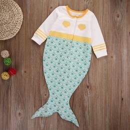 Wholesale Cute Mermaid Newborn - Kid Mermaid Jumpsuit Newborn Baby Girl Romper Fairy Tale Clothes Cute Fishtail Long Sleeve Cotton Boydsuit Princess Outfit Toddler 0-24M