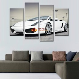 Wholesale Hd Car Pictures - 4 panel Sports Car Large HD Decorative Art Print Painting On Canvas For Living Room Wall Decor Pictures