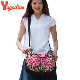 Wholesale Women Handbags Chinese - Wholesale- New Chinese National Style Embroidery Bags Women Fashion Handbags Casual Embroidered Shoulder Bag Travel flower Shopping Bag