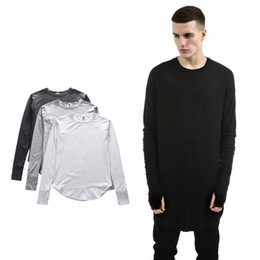 Wholesale Thumbs Cuff - 2017 Kanye West FOG Long Sleeve T-shirt Thumb Hole Cuffs Long High Low Side Split Men Fashion Cotton Tops