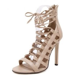 Wholesale High Heel Sandals Sexy Strappy - Sexy Women Ankle Strap Hollow out Strappy Sandals High Heels Ankle Boots Cross Bnadage Summer Ankle Strap Women Shoe Heel 11 cm