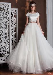 Wholesale Wedding Dresses Cutout Back - Unique 2017 A-Line Lace Wedding Dresses With Cap Sleeves Bateau Neck Sheer Zipper Back Country Wedding Dress Cutout Bridal Gowns Cheap