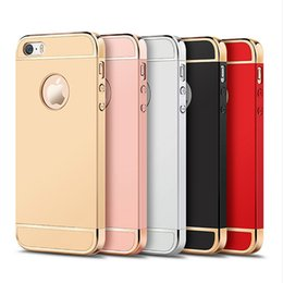 Wholesale Plastic Electroplating - JOYROOM Ultra Slim 3 in 1 Case Electroplate Metal Texture PC Hard Case Cover & Skin for iPhone 5\5S\SE\6\6S\6plus