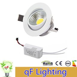 Wholesale Recessed Power - Newest 6W 9W 12W COB LED Downlights Dimmable 110V 240V Power Driver Tiltable Fixture Recessed Ceiling Down Lights Lamps