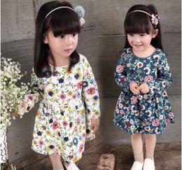 Wholesale Sun Dresses For Kids - 2017 New Spring Autumn Children Dress Fashion Girls Floral Dress Sun Flower Princess Skirt Polyester A-Line Dress For Kids