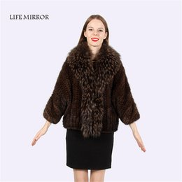 Wholesale Knitted Mink Vest Women - Real Mink Fur Coat Fur Vest S-8XL Black Colour 58cm Women's Fur Jackets and Coats Fourfure Pelliccia Donna LM-42