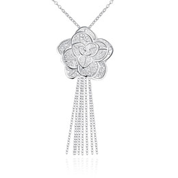 Wholesale Necklaces Statment Wholesale - Fine Silver Plated Jewelry 925-sterling-silver Flower Pendants Bohemian Style Tassel Statment Necklace with for Women +18inch Rolo Chain
