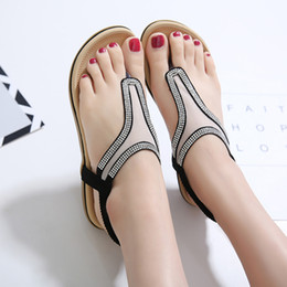Wholesale Net Wedge - Summer Bohemia Beach Women Sandals Crystal Net yarn Comfortable Seaside Breathable Flip Flops flat Soft bottom Woman Shoes